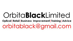 Orbita Black Logo, black text with an email in red saying orbitablack@gmail.com