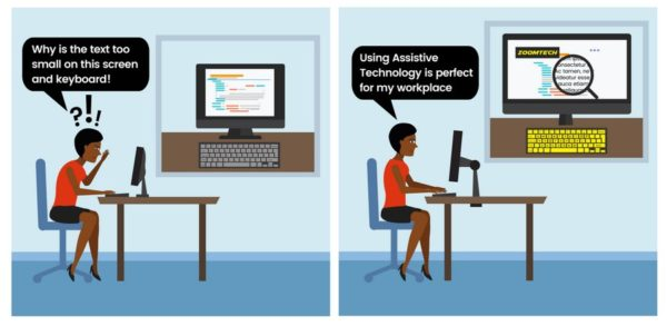 Graphic of lady using assistive technology at work