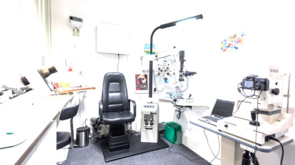 Eye clinic room, full of equipment