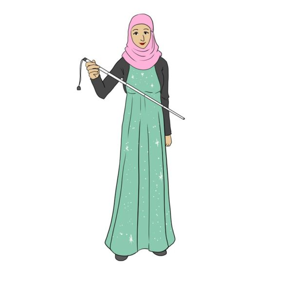 Lady wearing hijab and holding a white symbol cane