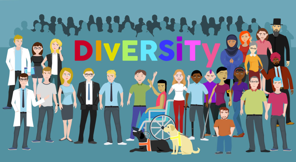Graphic showing a diverse workforce