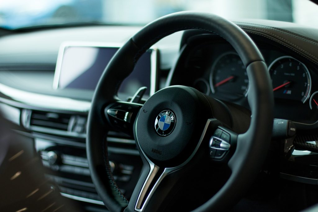 BMW steering wheel and dashboard