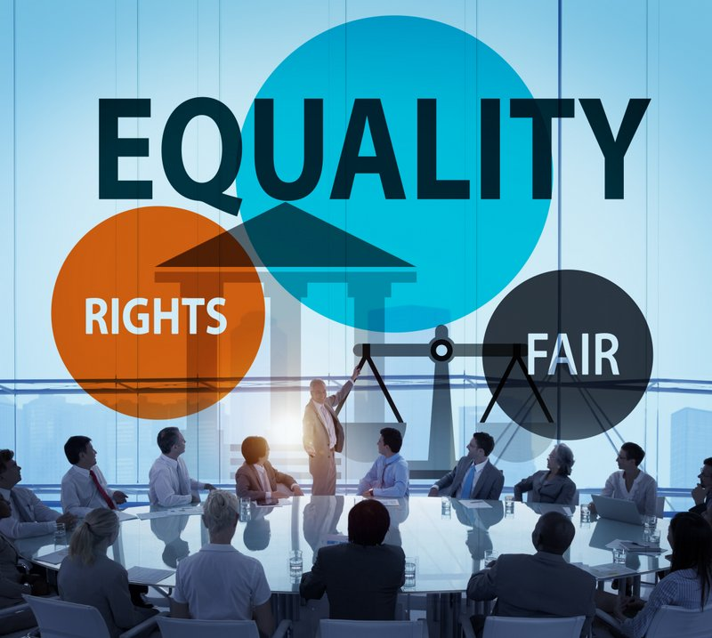 Equality graphic showing a business meeting with words equality, fair and rights