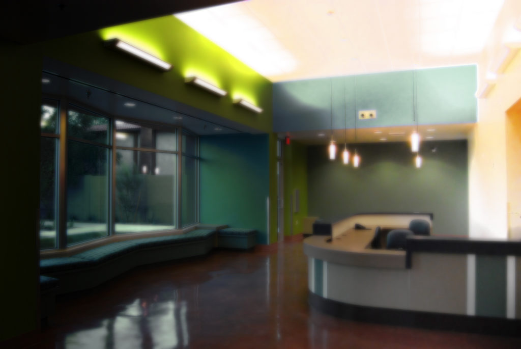Dimly lit reception area