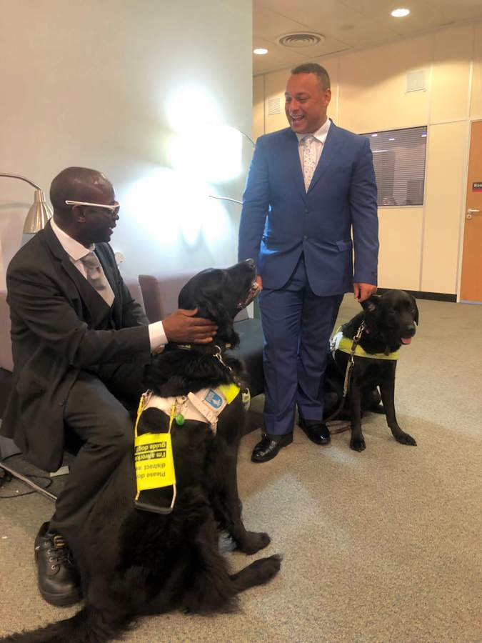 2 men with black guide dogs