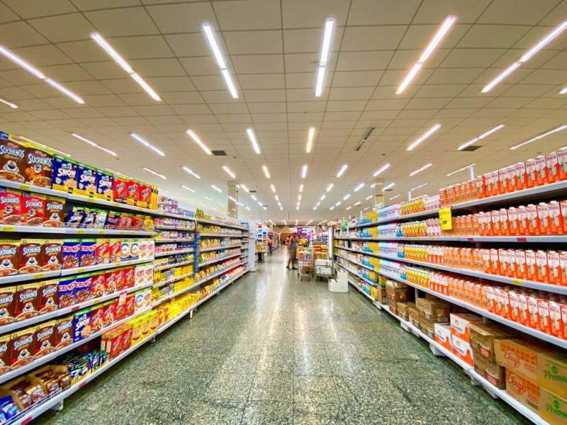 Supermarket aisle pack with products