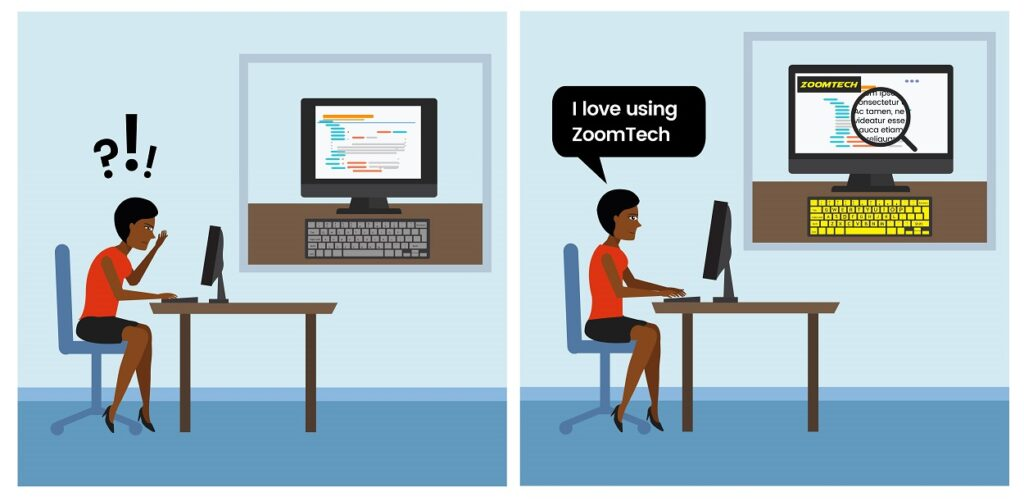 Woman sat at desk feeling happy after ZoomTech has been added to her PC thanks to the Workplace Assessment