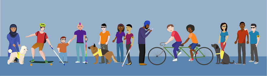Graphic showing a diverse range of people with visual impairments