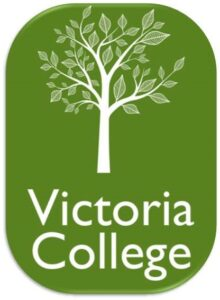 Victoria College logo. A white tree with an olive green background and 'Victoria College' wording below