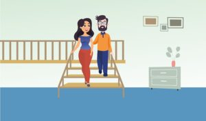 Graphic of a woman guiding a man down stairs during a course session