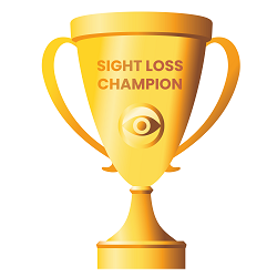 Sight loss champion cup graphic as used to promote our training course